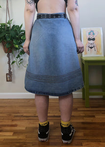 Vintage Stitched Denim Skirt - XL/2X