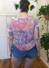 Vintage Patchwork-Look Button Up Top - XL/2X