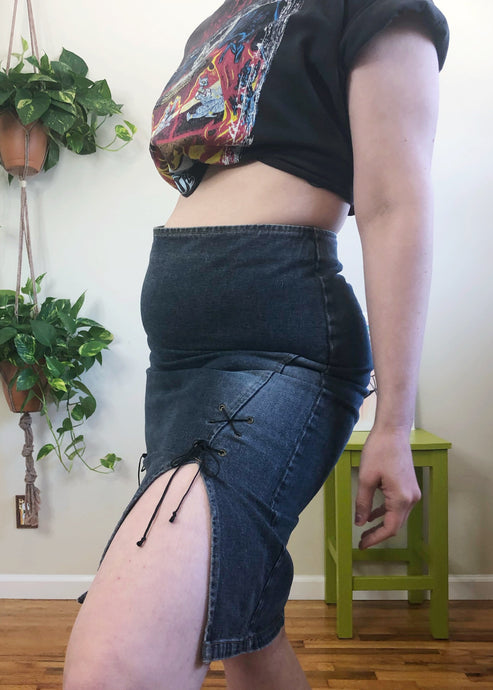 Vintage Lace Up Denim Skirt - L/XL