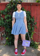 Vintage Checked Denim Jumper Dress - L