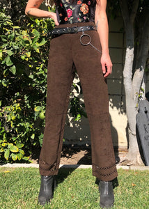 Vintage Deadstock Faux Suede Cut Out Trousers - L/XL