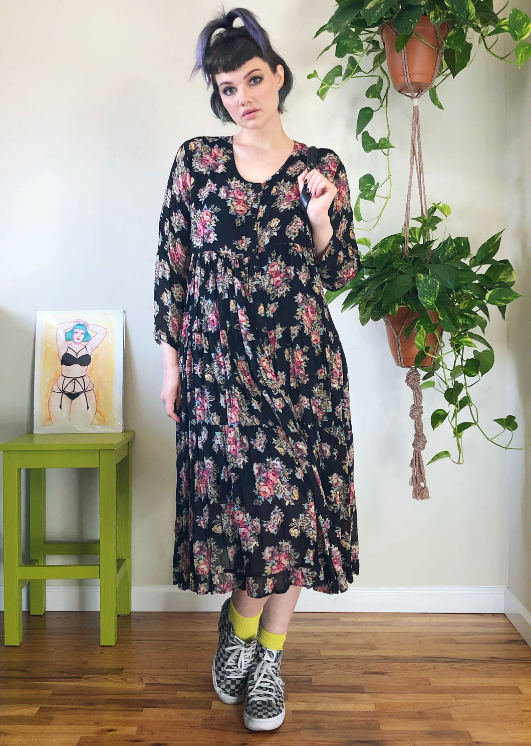 Vintage Floral Button Up Maxi Dress - L/XL/2X