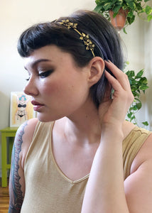 Golden Floral Tiara Headband