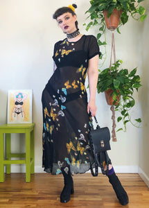 Vintage Butterfly Sheer Maxi Dress - L/XL/2X