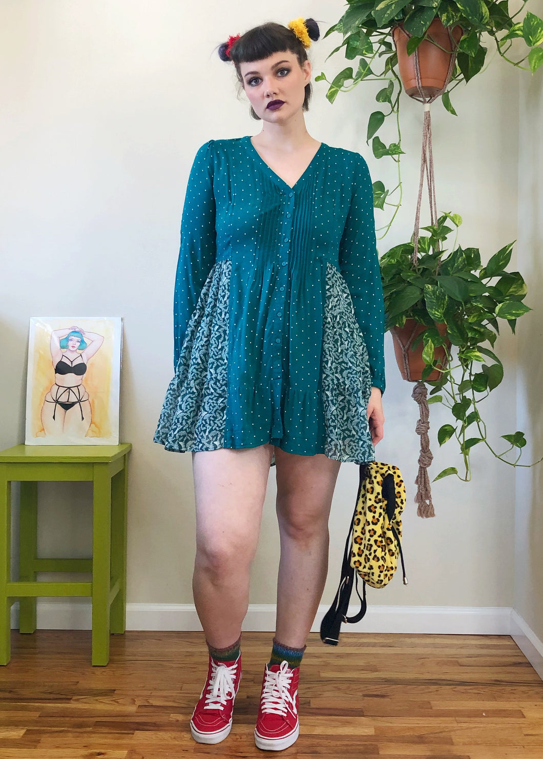 Handmade Teal Button Front Babydoll - M/L