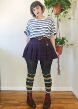 Vintage Raw Hem Purple Plaid Mini - L