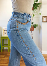 Vintage Paper Bag Waist Suede Detailed Mom Jeans - L