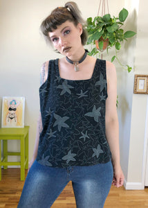 Vintage Square Neck Starfish Cropped Tank - 3X/4X/5X