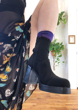 Vintage Black Neoprene Ankle Boots - US 9