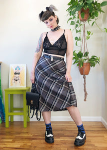 Vintage Plaid Midi Skirt - L/XL
