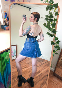 Vintage Altered Denim V-Hem Skirt - 2X