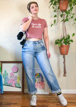 Vintage Light Wash Distressed & Sandblasted Mom Jeans - L/XL