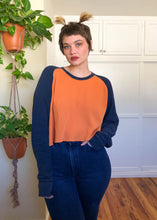 Vintage Cropped Orange & Blue Baseball Thermal - 3X/4X