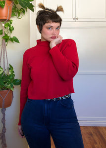 Vintage Red Ribbed Turtleneck with Raw Cut Hem - XL/2X