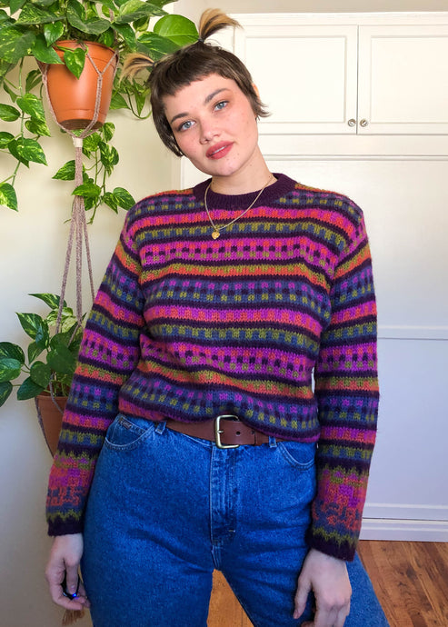 Vintage United Colors of Benetton Rainbow Fuzzy Sweater - XL