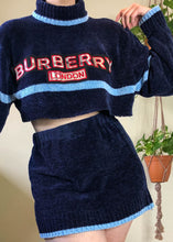 Vintage Knock-Off Burberry Chenille Skirt & Sweater Set - XL/2X