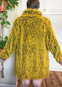 Bitching and Junkfood Nicolette Yellow Shaggy Faux Fur Coat - L/XL