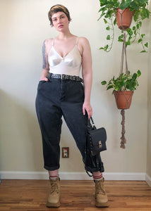 Vintage Faded Black Mom Jeans with Slight Stretch - 3X