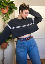 Vintage Gray & White Striped Raw Cropped Sweater - XL/2X/3X
