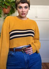 Vintage Marigold Striped Raw Crop Sweater - XL/2X/3X