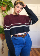 Vintage Striped Chenille Raw Cropped Sweater - XL/2X/3X