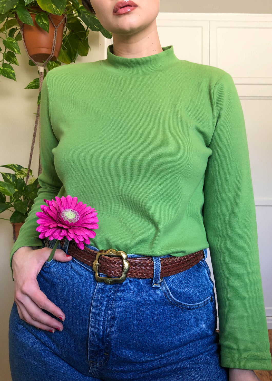 Vintage Lime Green Ribbed Turtleneck - 2X/3X/4X