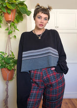 Vintage Grayscale Striped Raw Crop Sweater - 5X/6X