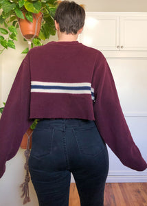 Vintage Gap Burgundy Striped Raw Crop Sweater - 3X/4X
