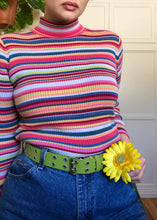 Vintage Sherbet Striped Ribbed Turtleneck - XL
