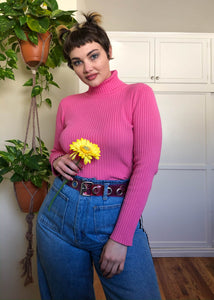 Vintage Perfect Shade of Pink Ribbed Turtleneck - XL