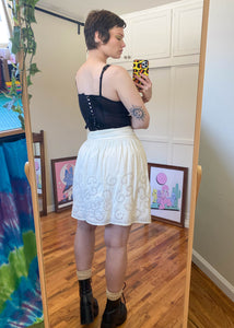 Vintage Cream Lace & Bird Skirt - XL