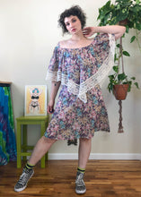 Vintage Muted Tone Floral Handkerchief Dress - L/XL