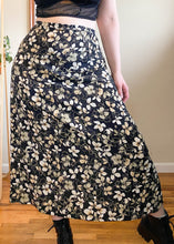 Vintage Black and White Floral Maxi Skirt - XL
