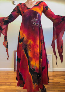 Vintage Fire Fairy Tie Dye Dress - XS/S/M