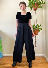 Vintage Jet Black Trouser Jumpsuit - XL