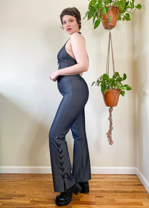 Vintage Lace Up Halter Jumpsuit - XL