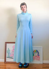 Vintage Ice Blue Space Age Turtleneck Dress - M/L