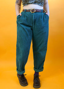 Vintage Dark Teal Checkered Corduroys - 2X