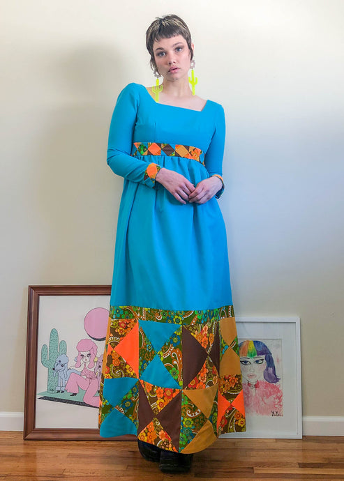Vintage Psychedelic Princess Maxi Dress - M/L