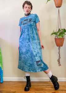 Vintage Teal Tie Dye Cat Dress - L