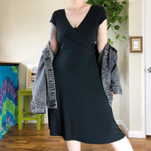 Vintage Y2K Black Faux Wrap Swishy Dress - XL/2X/3X