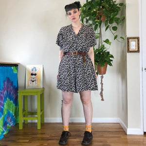 Vintage Floral Button Up Romper - XL/2X/3X