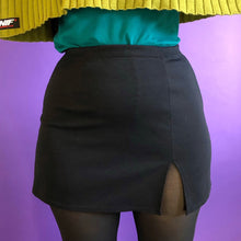 Vintage Black Notched Mini Skirt - XL