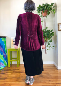 Vintage Raspberry Crushed Velvet Shacket - M/L/XL
