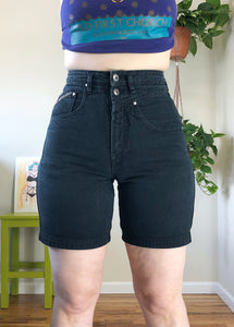 Vintage Faded Black Denim Shorts - M/L/XL