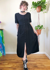 Vintage Black Button Up Maxi Dress - L/XL
