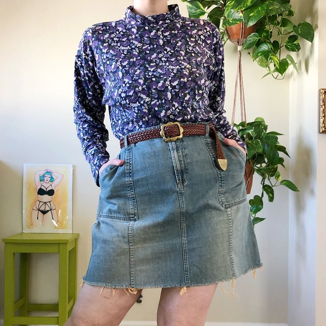 Vintage Raw Cut Denim Skirt - 2X