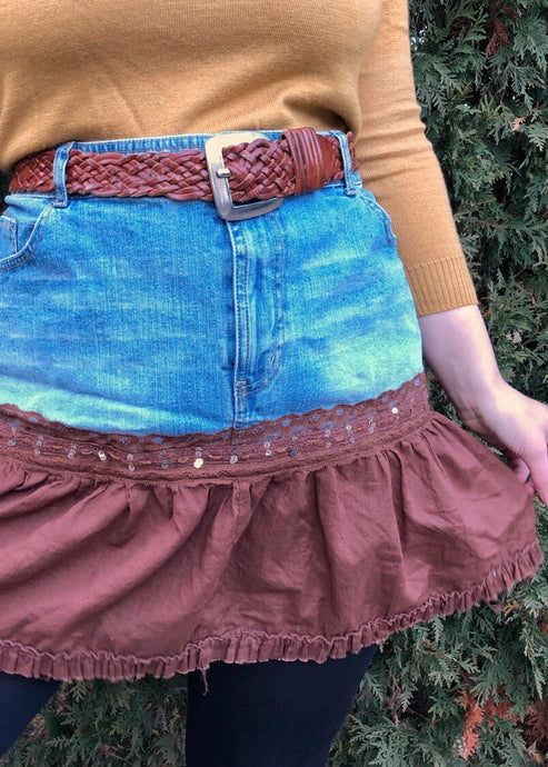 Vintage Split Fabric Denim Mini Skirt - 3X