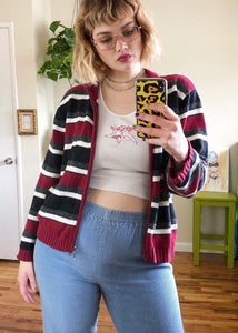 Vintage Stripey Zip Up Cardigan - 2X