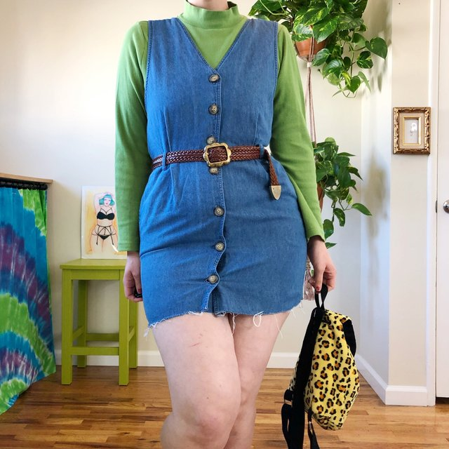 Vintage Raw Hem Denim Jumper Dress - L
